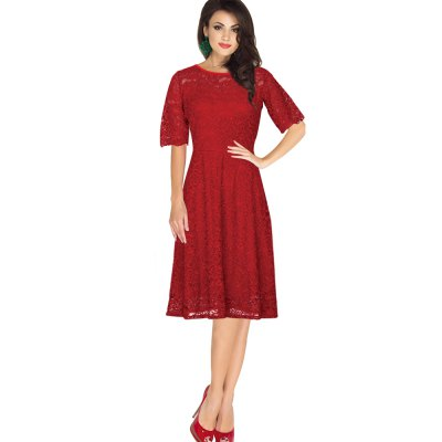 Gamiss Elegant Vintage Dress Women Delicate Lace Fabric Dress Wear To Work Party Evening Half Sleeve A-line Fold Formal DressMidi-Dress<br>Gamiss Elegant Vintage Dress Women Delicate Lace Fabric Dress Wear To Work Party Evening Half Sleeve A-line Fold Formal Dress<br>
