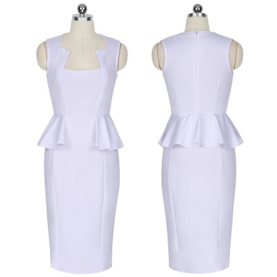 Fashion Style Dress Women New Style Square Neckline Sleeveless Dress Bodycon Mini Peplum DressSleeveless Dresses<br>Fashion Style Dress Women New Style Square Neckline Sleeveless Dress Bodycon Mini Peplum Dress<br>