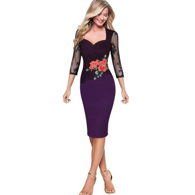 Sexy Lace Dress Women Embroidered Floral See Through Lace Party Evening Dress Special Occasion Embroidery DressBodycon Dresses<br>Sexy Lace Dress Women Embroidered Floral See Through Lace Party Evening Dress Special Occasion Embroidery Dress<br>