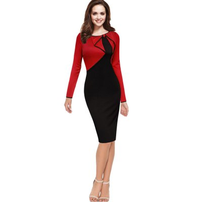 Vintage Asymmetric Bow Pinup Patchwork Dress Elegant Women Round Collar Long Sleeve Dress Work  Party Wear Pencil Sheath DressBodycon Dresses<br>Vintage Asymmetric Bow Pinup Patchwork Dress Elegant Women Round Collar Long Sleeve Dress Work  Party Wear Pencil Sheath Dress<br>