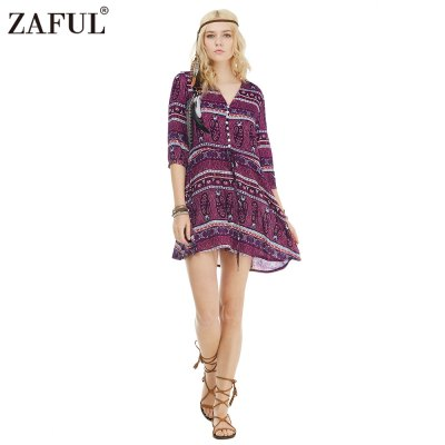Zaful Woman Dress Spring And Summer Bohemian Printing Ethnic Style V-neck And 3/4-sleeve Design Mini DressMini Dresses<br>Zaful Woman Dress Spring And Summer Bohemian Printing Ethnic Style V-neck And 3/4-sleeve Design Mini Dress<br>