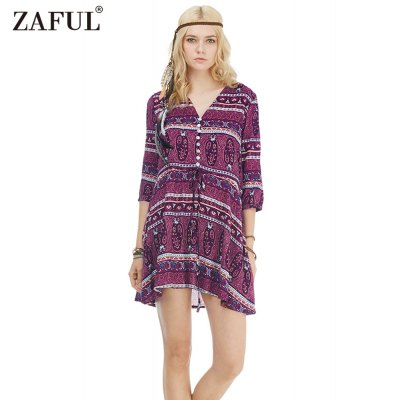 Zaful Woman Dress Spring And Summer Bohemian Printing Ethnic Style V-neck And 3/4-sleeve Design Mini Dress