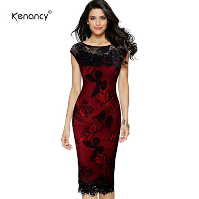 Kenancy Sexy Evening Dress Exquisite Sequins Crochet Butterfly Lace Party Dress Women Bodycon pencil DressBodycon Dresses<br>Kenancy Sexy Evening Dress Exquisite Sequins Crochet Butterfly Lace Party Dress Women Bodycon pencil Dress<br>