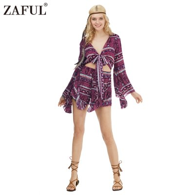 Zaful Woman Jumpsuit Spring And Summer Bohemian Printing Ethnic Style Plunging neckline And Trumpet Sleeve Design Mini JumpsuitShorts<br>Zaful Woman Jumpsuit Spring And Summer Bohemian Printing Ethnic Style Plunging neckline And Trumpet Sleeve Design Mini Jumpsuit<br>