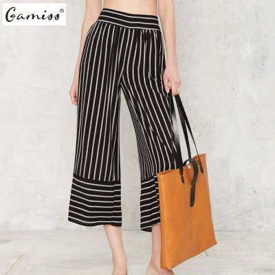 2016 New arrival fashion casual loose pants woman vintage sicily striped pants
