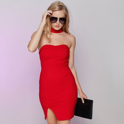 2016 summer new arrival sexy women halter neck tube dress knit side slit skirt short dress