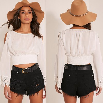 Women Off the Shoulder lace stiching long sleeve  Tops Summer Style Casual Woman Cute Tops New Arrival Flared sleeve and Elastic Waist topsCrop Tops<br>Women Off the Shoulder lace stiching long sleeve  Tops Summer Style Casual Woman Cute Tops New Arrival Flared sleeve and Elastic Waist tops<br>