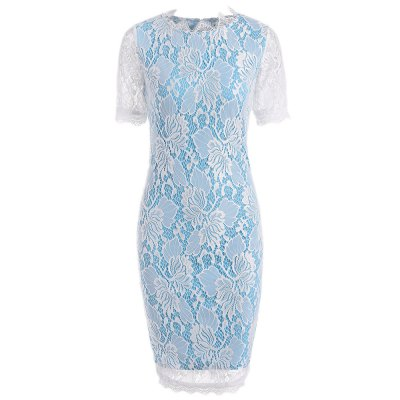 Kenancy Floral Lace Pencil Dress Elegant Women Half Sleeve Delicate Eyelash Lace Side Work Party Evening Bodycon DressBodycon Dresses<br>Kenancy Floral Lace Pencil Dress Elegant Women Half Sleeve Delicate Eyelash Lace Side Work Party Evening Bodycon Dress<br>