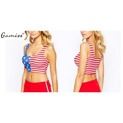 2016 new arrival fashion style stars and stripes printed tank top woman casual elastic short topTank Tops<br>2016 new arrival fashion style stars and stripes printed tank top woman casual elastic short top<br>