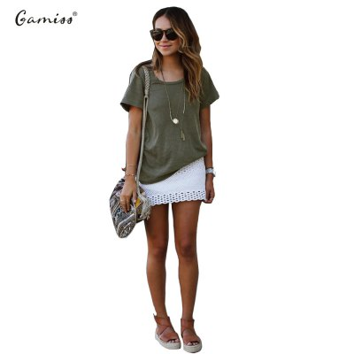 2016 casual fashion round neck pure color woman T-shirt