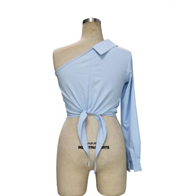 Unilateral long-sleeved  strapless shirt strap hem woman sexy shirtBlouses<br>Unilateral long-sleeved  strapless shirt strap hem woman sexy shirt<br>