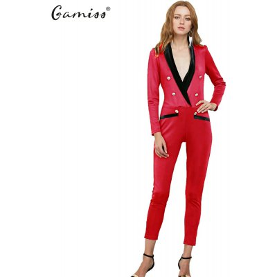 Women jumpsuit new arrival fashion office style spring and fall stitching jumpsuit solid color deep V-neck long sleeve jumpsuit