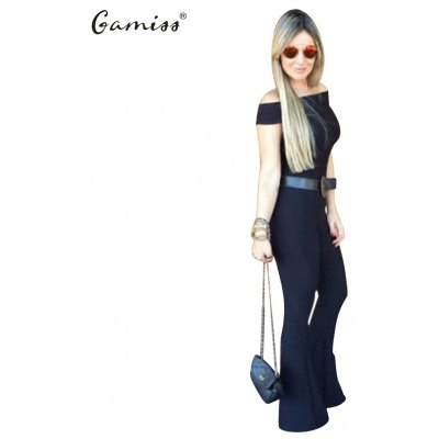 2016 new arrival summer style sexy jumpsuit woman boat collar waisted retro bell-bottomed jumpsuit