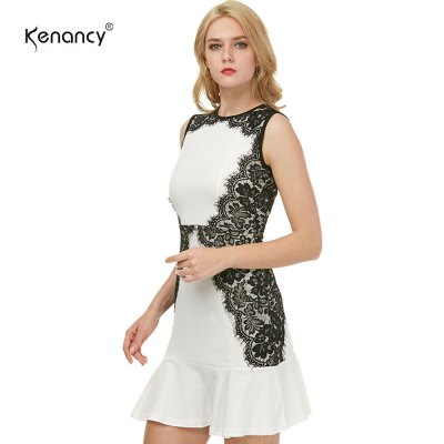 Kenancy Womens Sexy Cocktail Sleeveless Dress with Fluted Hem and Eyelash Lace Side Work Office Wedding Stretch Bodycon Slim Mermaid DressBodycon Dresses<br>Kenancy Womens Sexy Cocktail Sleeveless Dress with Fluted Hem and Eyelash Lace Side Work Office Wedding Stretch Bodycon Slim Mermaid Dress<br>
