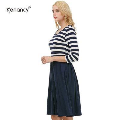 Kenancy Womens Navy Style Stripe Scoop Neck 3/4 Sleeve Casual Work Office Elastic Slim Fit and Flare Swing Midi DressBodycon Dresses<br>Kenancy Womens Navy Style Stripe Scoop Neck 3/4 Sleeve Casual Work Office Elastic Slim Fit and Flare Swing Midi Dress<br>