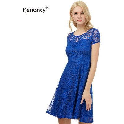 Kenancy Womens Floral Lace Dress Round Neck Short Sleeve Evening Cocktail Party Casual Work Slim Mini Dress
