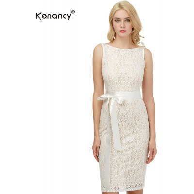 Kenancy Womens Sexy Lace Sheath Bodycon Dress Boat Neck Sleeveless Champagne Wedding Cocktail Party Prom Bow Sashes Belted Pencil Midi Dress