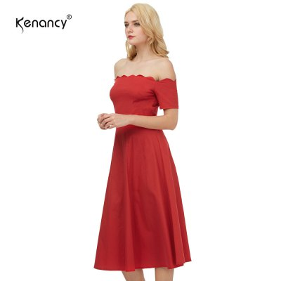 Kenancy Womens Elegant 1950s Style Off the Shoulder Vintage Dress Short Sleeve Cocktail Party Fit and Flare Swing Midi DressBodycon Dresses<br>Kenancy Womens Elegant 1950s Style Off the Shoulder Vintage Dress Short Sleeve Cocktail Party Fit and Flare Swing Midi Dress<br>