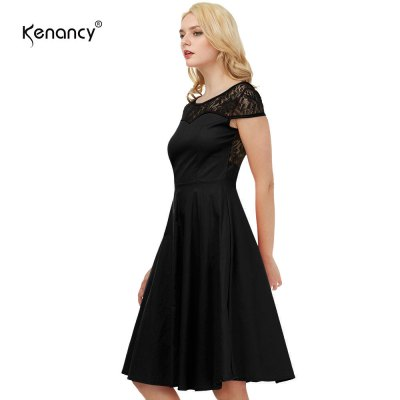 Kenancy Womens Elegant 1950s Style Vintage Dress Lace Patchwork Cap Sleeve Back V Neckline Cocktail Party Stretch Fit and Flare Swing Midi DressBodycon Dresses<br>Kenancy Womens Elegant 1950s Style Vintage Dress Lace Patchwork Cap Sleeve Back V Neckline Cocktail Party Stretch Fit and Flare Swing Midi Dress<br>