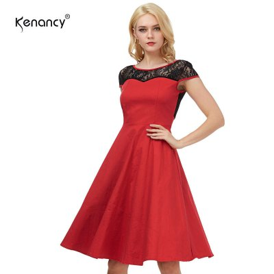 Kenancy Womens Elegant 1950s Style Vintage Dress Lace Patchwork Cap Sleeve Back V Neckline Cocktail Party Stretch Fit and Flare Swing Midi Dress