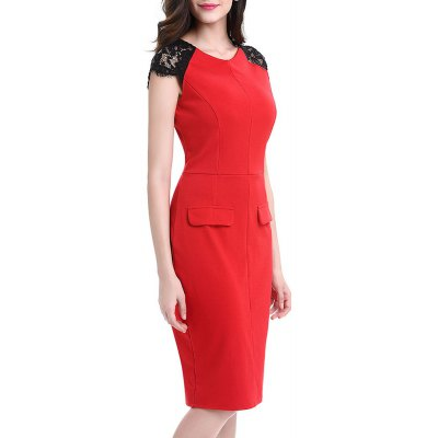 Kenancy Womens Elegant Lace Patchwork Sleeve Round Neck Cap Sleeve Work Office Work Cocktail Party Stretch Sheath Bodycon Dress