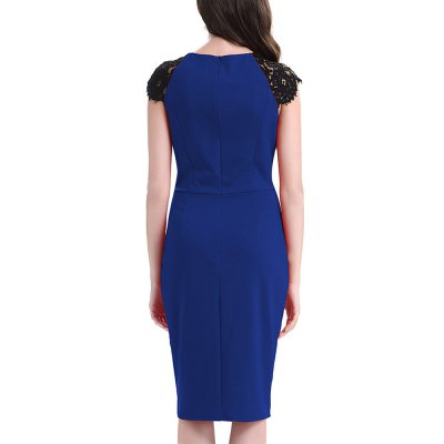 Kenancy Womens Elegant Lace Patchwork Sleeve Round Neck Cap Sleeve Work Office Work Cocktail Party Stretch Sheath Bodycon DressBodycon Dresses<br>Kenancy Womens Elegant Lace Patchwork Sleeve Round Neck Cap Sleeve Work Office Work Cocktail Party Stretch Sheath Bodycon Dress<br>
