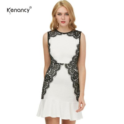 Kenancy Womens Sexy Cocktail Sleeveless Dress with Fluted Hem and Eyelash Lace Side Work Office Wedding Stretch Bodycon Slim Mermaid Dress