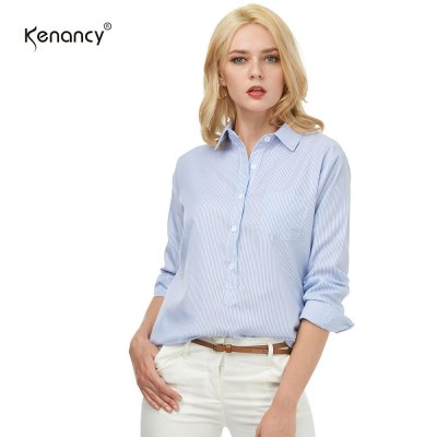 Kenancy Womens Turn-Down Collar Lapel Vertical Striped Blouse Long Sleeve Button Pocket Casual Work Office ShirtBlouses<br>Kenancy Womens Turn-Down Collar Lapel Vertical Striped Blouse Long Sleeve Button Pocket Casual Work Office Shirt<br>