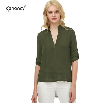 Kenancy Womens V-Neck 3/4 Sleeve Roll Sleeve Chiffon Blouse Solid Color Lightweight Casual Work Office Shirt