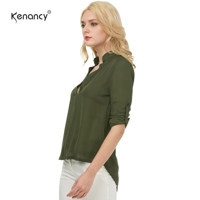 Kenancy Womens V-Neck 3/4 Sleeve Roll Sleeve Chiffon Blouse Solid Color Lightweight Casual Work Office ShirtBlouses<br>Kenancy Womens V-Neck 3/4 Sleeve Roll Sleeve Chiffon Blouse Solid Color Lightweight Casual Work Office Shirt<br>
