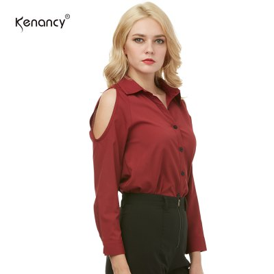 Kenancy Womens Turn-Down Collar Cold Shoulder Blouse Long Sleeve Pure Color Casual Work Office ShirtBlouses<br>Kenancy Womens Turn-Down Collar Cold Shoulder Blouse Long Sleeve Pure Color Casual Work Office Shirt<br>