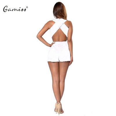 Woman siamese culottes 2016 Summer New Sexy Style Jumpsuit Womens V Neck Sleeveless And Crossed Backless  Design Short Solid Color Siamese CulottesShorts<br>Woman siamese culottes 2016 Summer New Sexy Style Jumpsuit Womens V Neck Sleeveless And Crossed Backless  Design Short Solid Color Siamese Culottes<br>