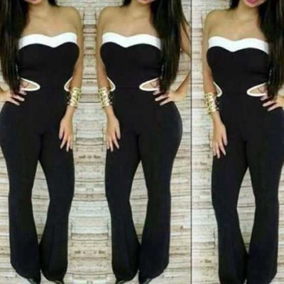 2016 new fashion sexy style hollow out design fashion strapless jumpsuits