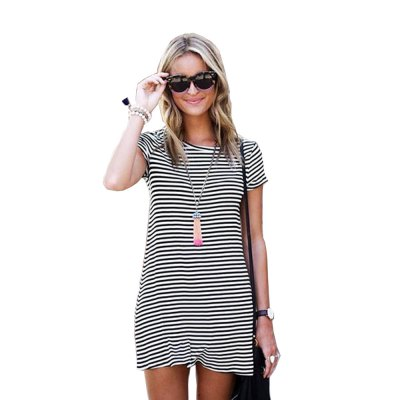 2016 new fashion round neck stripe T-shirt woman short sleeve casual dressMini Dresses<br>2016 new fashion round neck stripe T-shirt woman short sleeve casual dress<br>
