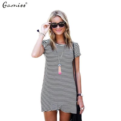 2016 new fashion round neck stripe T-shirt woman short sleeve casual dress