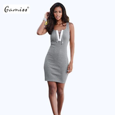 2016 new arrival summer style sexy front lace-up sleeveless mini hip dress