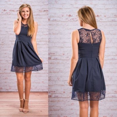 2016 new arrival summer style sexy dress woman lace stiching design waisted dress
