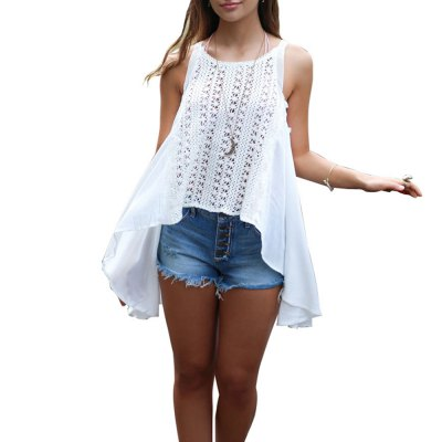 2016 new arrival summer style sexy lace design woman loose version sleeveless topTank Tops<br>2016 new arrival summer style sexy lace design woman loose version sleeveless top<br>