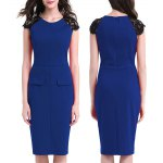Kenancy Womens Elegant Lace Patchwork Sleeve Round Neck Cap Sleeve Work Office Work Cocktail Party Stretch Sheath Bodycon Dress deal