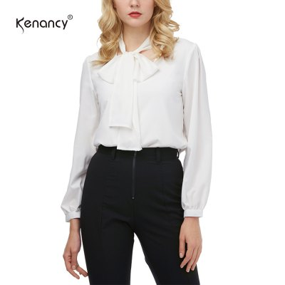 Kenancy Fashion Tie Blouse Shirt Female Sexy All-match V-neck Long Sleeve Casual BlouseBlouses<br>Kenancy Fashion Tie Blouse Shirt Female Sexy All-match V-neck Long Sleeve Casual Blouse<br>