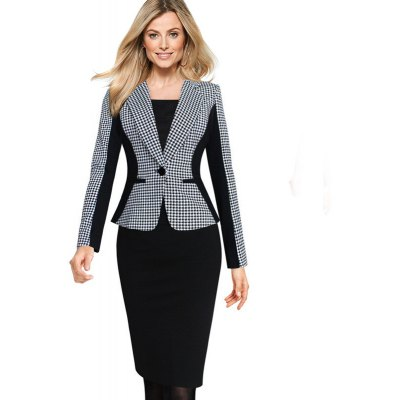 Kenancy Spring Autumn Womens Elegant Lapel Turn Down Collar Optical Illusion Houndstooth One Button Work Business Casual Office Fitted Outwear Blazer