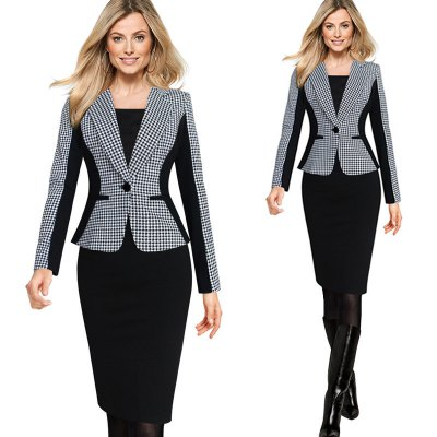 Kenancy womens elegant lapel turn down collar optical illusion houndstooth one button...