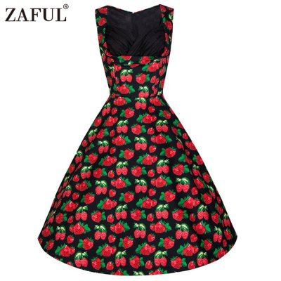 Zaful Woman Vintage Dress Spring And Summer Floral Printing Elegant Style Sweetheart Neckline And Sleeveless Design Retro Dress