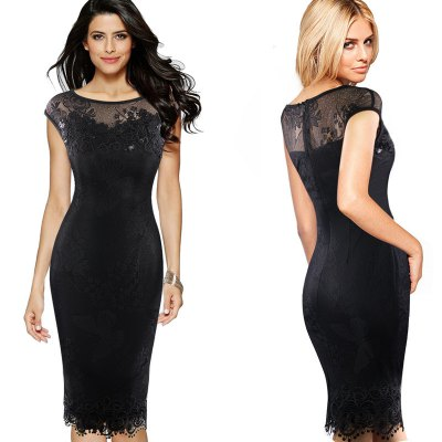Kenancy Sexy Evening Dress Exquisite Sequins Crochet Butterfly Lace Party Dress Women Bodycon pencil Dress