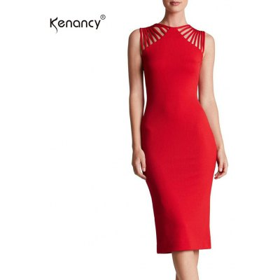 Kenancy Wemans Elegant Statement-making Straps Jewel Neck Sleeveless Stretchy Knee Length Cocktail Party Evening Casual Work Pencil Dress