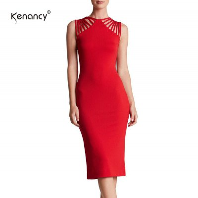 Kenancy Wemans Elegant Statement-making Straps Jewel Neck Sleeveless Stretchy Knee Length Cocktail Party Evening Casual Work Pencil DressBodycon Dresses<br>Kenancy Wemans Elegant Statement-making Straps Jewel Neck Sleeveless Stretchy Knee Length Cocktail Party Evening Casual Work Pencil Dress<br>