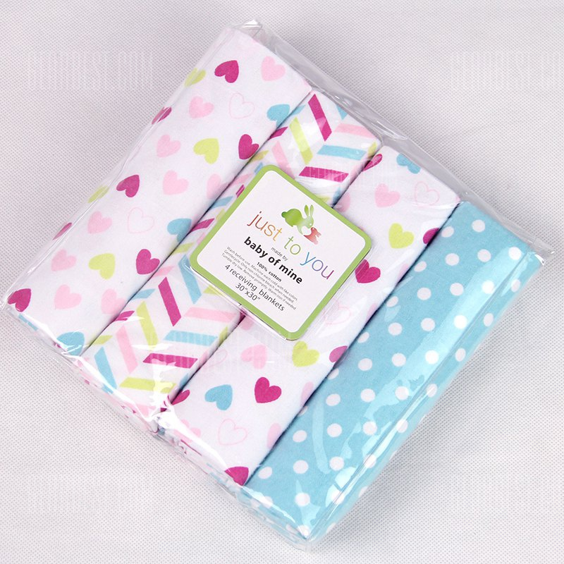 Buy Pcs/Pack 100% cotton supersoft flannel receiving baby blanket bedsheet 76*76CM blankets balls stars PINK HEART AND COLOR