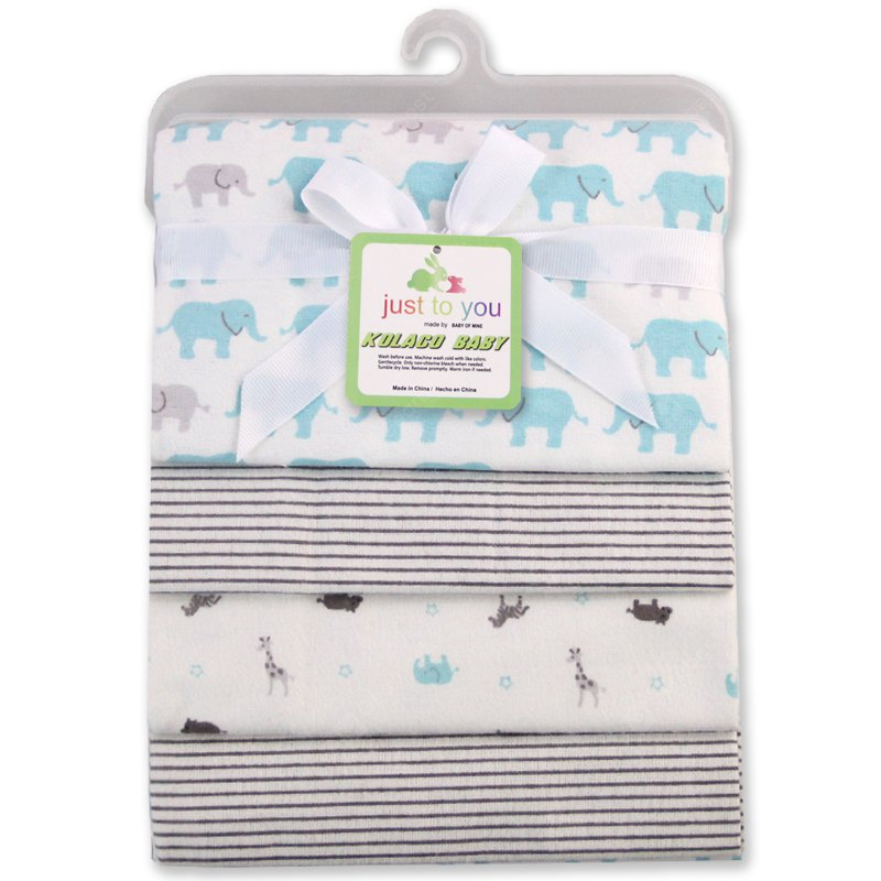 Buy Pcs/Pack 100% cotton supersoft flannel receiving baby blanket bedsheet 76*76CM blankets yellow duck ELEPHANTS AND STRIPE