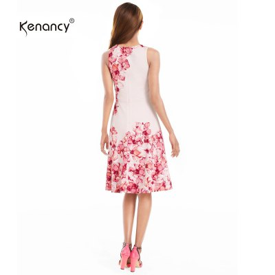 Kenancy Floral Printing Swing Dress Fashion Boat Neck Sleeveless Big Swing Midi Dress Women Club Party Work WearBodycon Dresses<br>Kenancy Floral Printing Swing Dress Fashion Boat Neck Sleeveless Big Swing Midi Dress Women Club Party Work Wear<br>