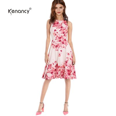 Kenancy Floral Printing Swing Dress Fashion Boat Neck Sleeveless Big Swing Midi Dress Women Club Party Work Wear